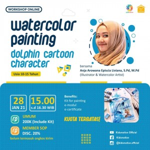 Watercolor Painting: Dolphin Cartoon Character